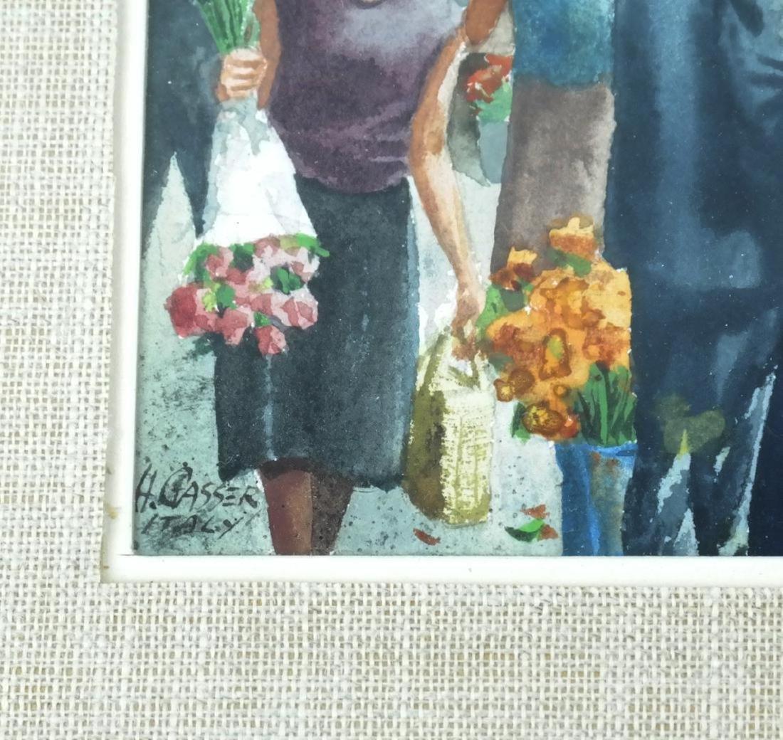 Henry Gasser; 20thC. Watercolor Italian Market Signed - 3
