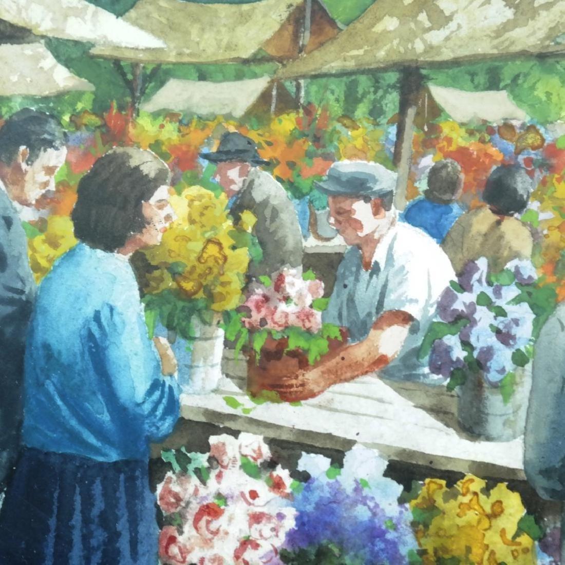 Henry Gasser; 20thC. Watercolor Italian Market Signed - 4