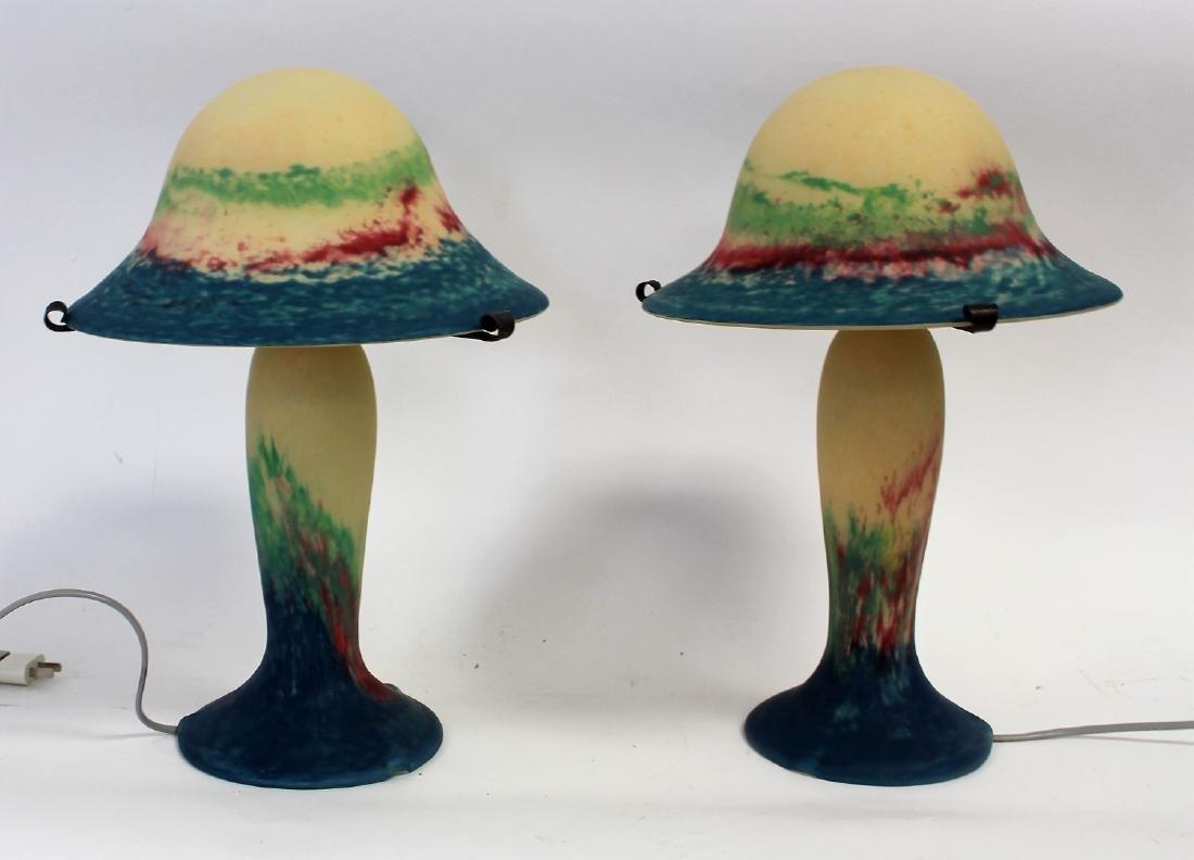 Pair of French Art Glass Mushroom Lamps