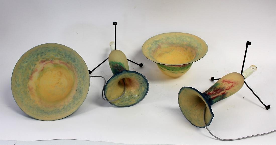 Pair of French Art Glass Mushroom Lamps - 3