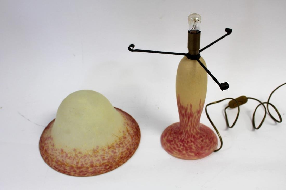 French Art Glass Mushroom Lamp - 3