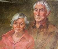 Shinn; 20thC. Pastel - Family Portrait Signed