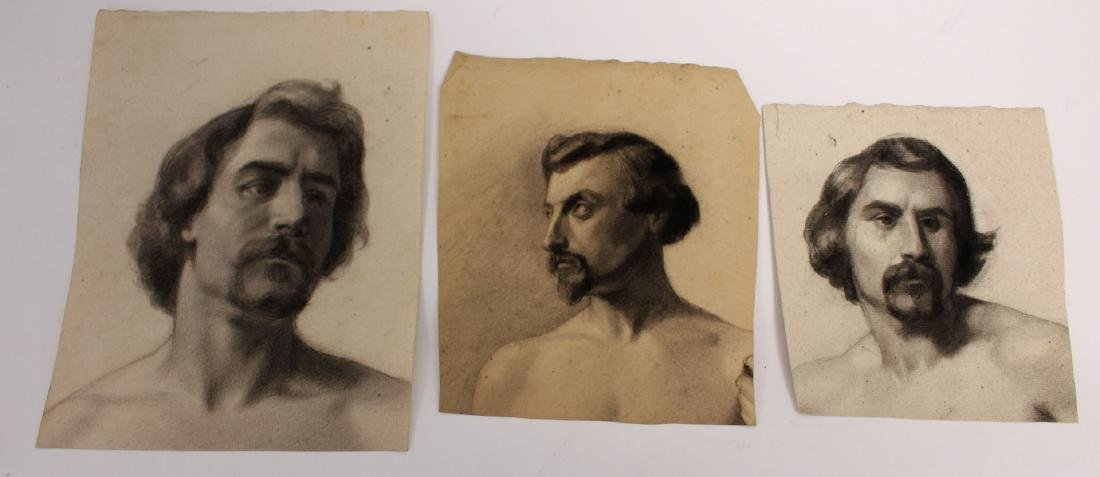 Three(3) 19thC. Charcoal Portrait Sketches