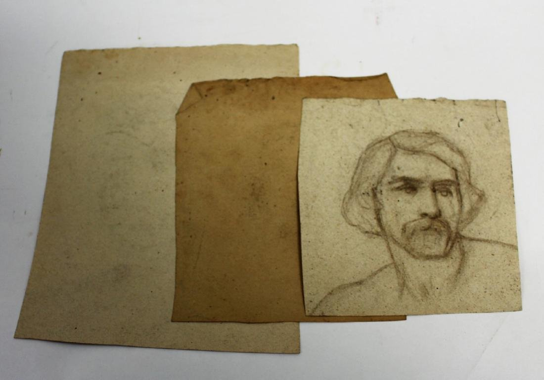 Three(3) 19thC. Charcoal Portrait Sketches - 5