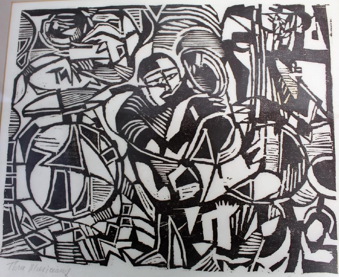Steinberg; Woodcut - Three Musicians