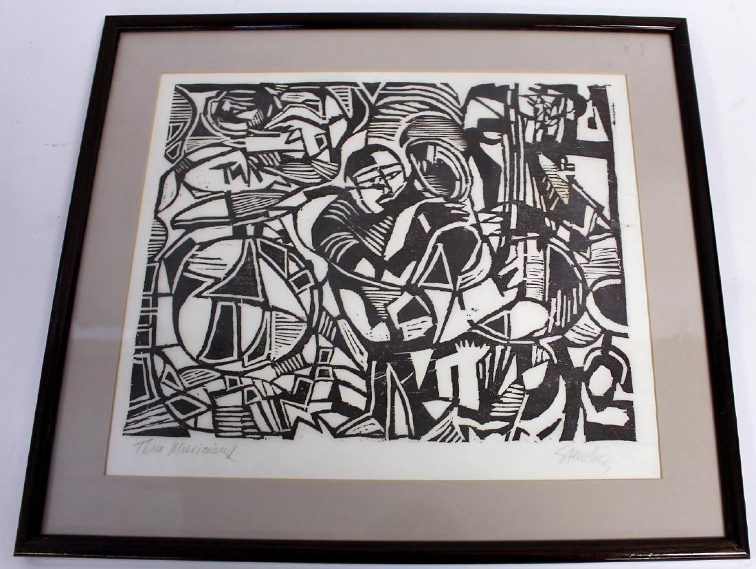Steinberg; Woodcut - Three Musicians - 4