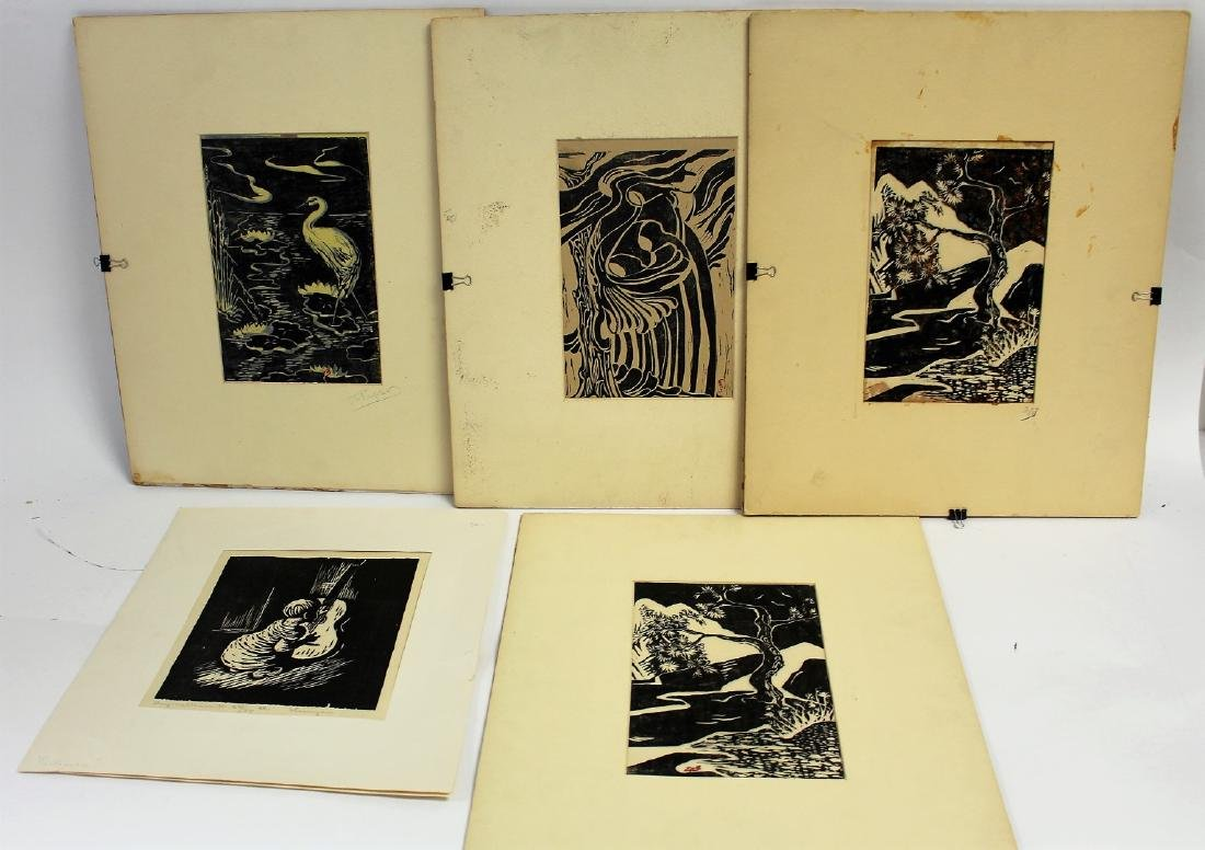 Five(5) Miscellaneous Woodcut Prints
