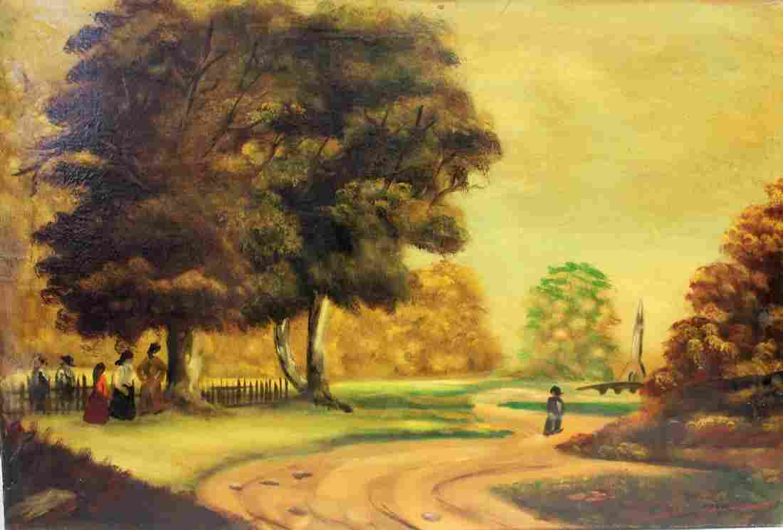 Henri; 20thC. Oil Landscape with Figures Signed