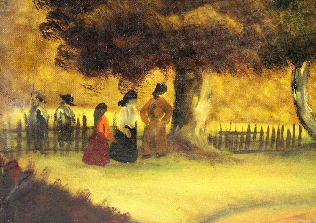Henri; 20thC. Oil Landscape with Figures Signed - 3