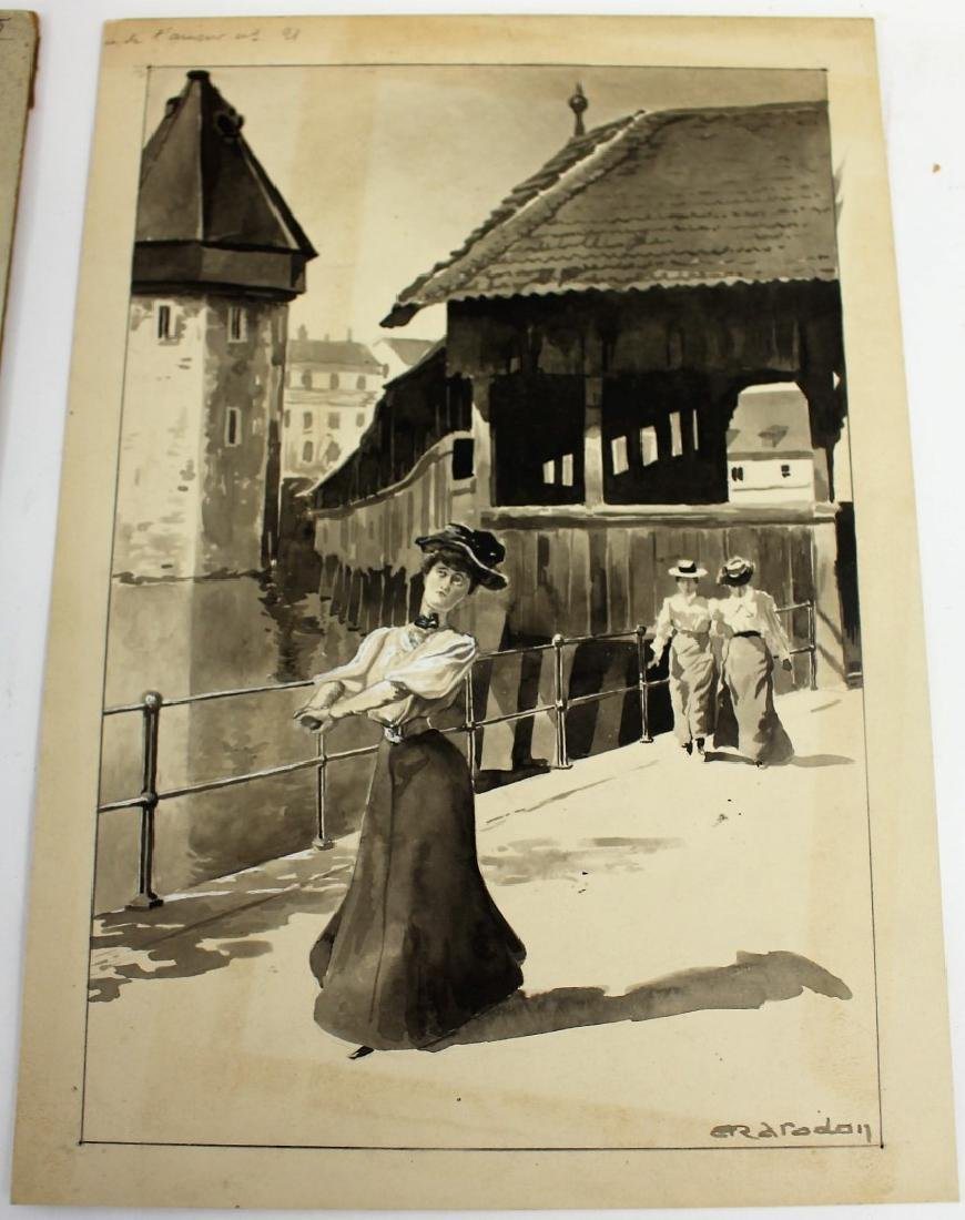 Four(4) Miscellaneous Gouache Illustrations - 5