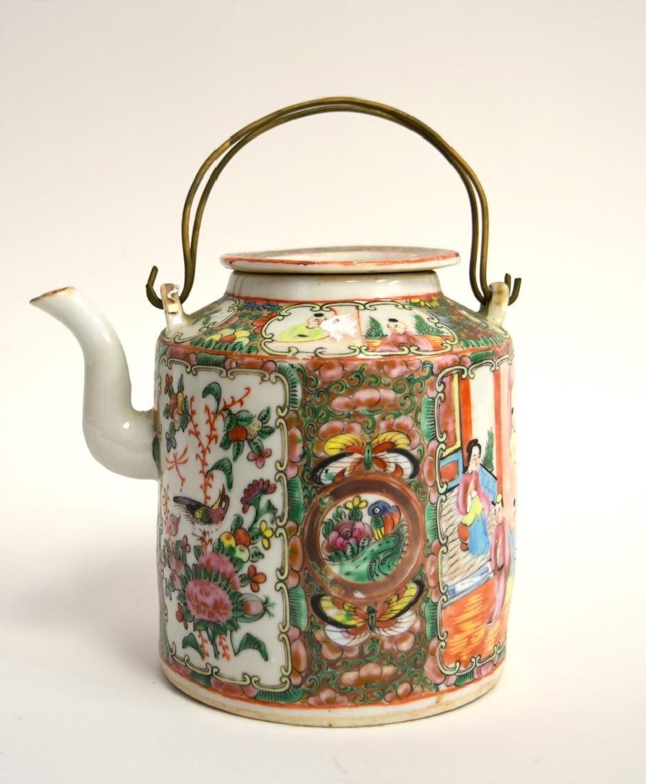 19thC. Chinese Rose Medallion Porcelain Teapot
