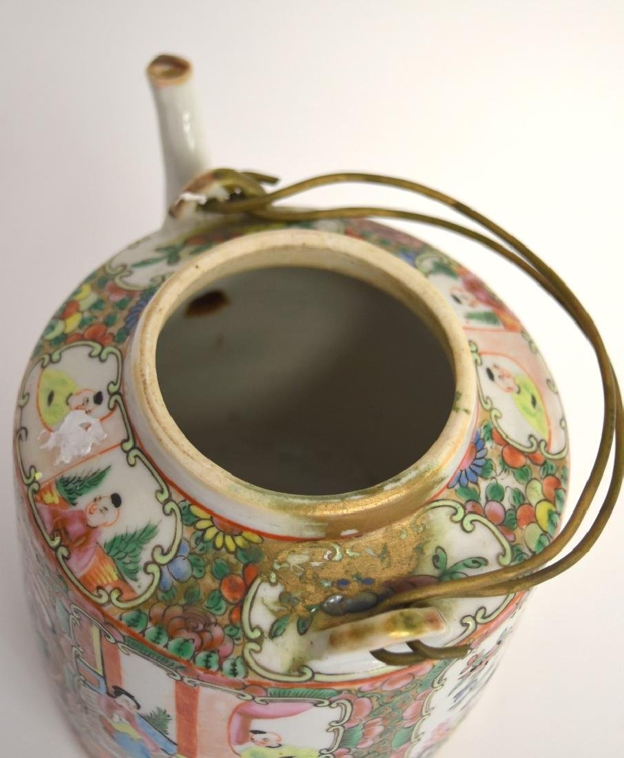 19thC. Chinese Rose Medallion Porcelain Teapot - 7