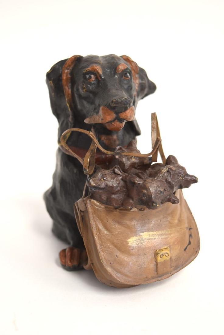 Whimsical Polychromed Bronze Dog Inkwell