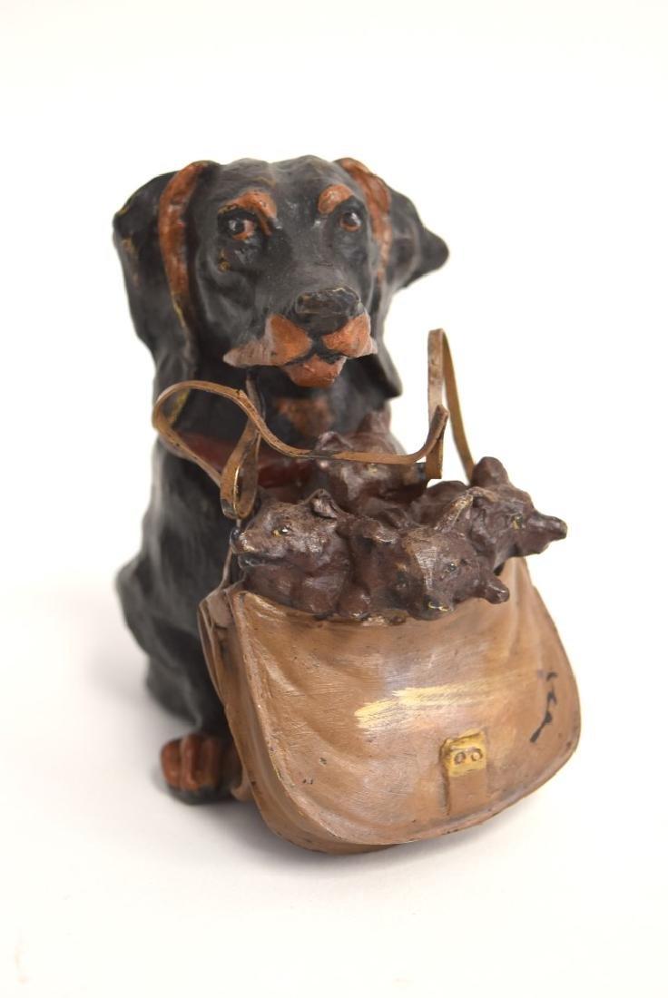 Whimsical Polychromed Bronze Dog Inkwell - 2