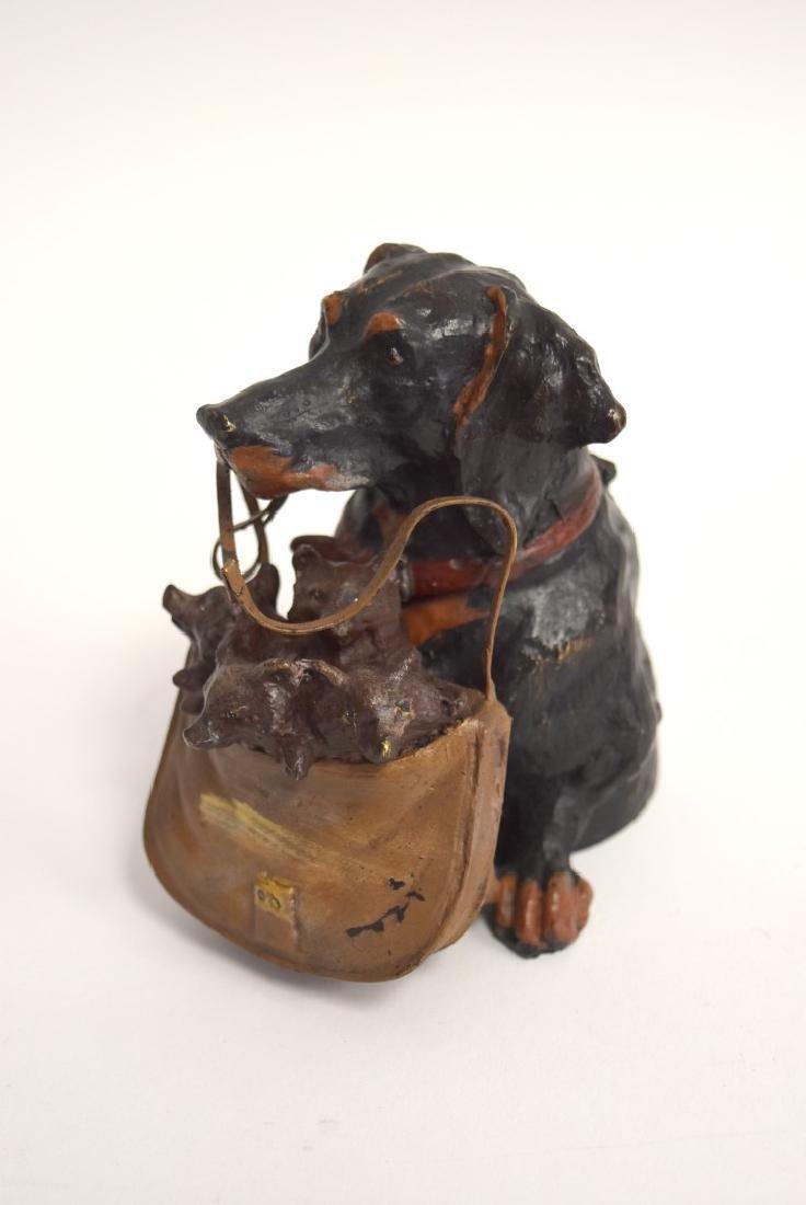 Whimsical Polychromed Bronze Dog Inkwell - 4