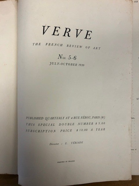 Verve: The French Review of Art Magazine, 1939 - 2