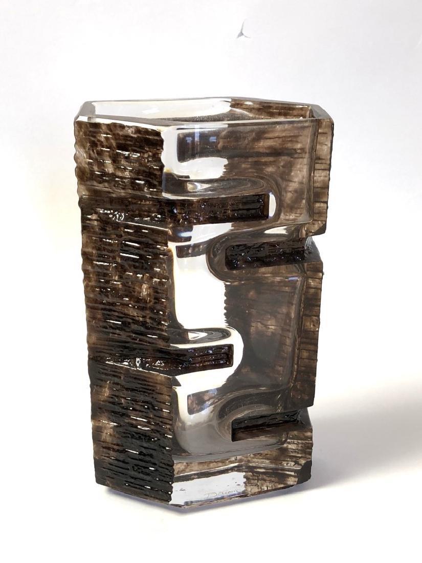 Daum Glass Sculptural Brutalist Vase