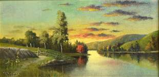 Willis H Plummer American Oil Landscape Signed