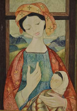 Marrugat 20thC Spanish Gouache Mother and Child