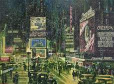 Harry Walker 20thC American Oil  Times Square Signed