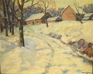 Dr William Palchanis America Oil Snowy Road Signed