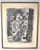 20thC American Lithograph  Times Square Signed