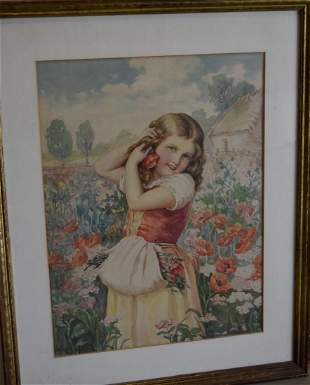 19thC Continental School Watercolor Girl in a