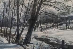 Hans Axel Walleen 20thC American Watercolor New