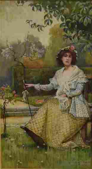 Samuel Poole English Watercolor Springtime Signed