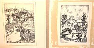 Alec Stern Pair of 20thC Etchings Signed