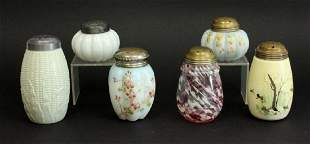 Lot of Six6 American Victorian Glass Sugar Shakers