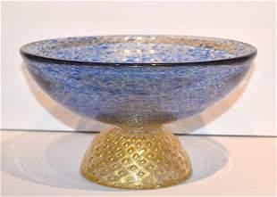 Barovier Toso Murano Style Glass Pedestal Bowl