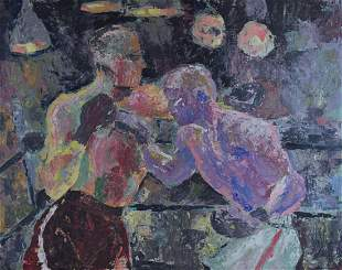Philip Stone 20thC Modernist Oil The Boxing Match