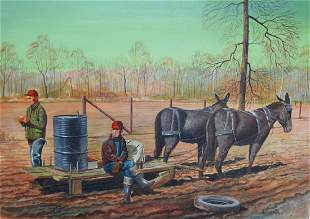 Homer Hill 20thC American Tempera Field Workers
