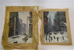 American School; Two(2) Oil Paintings - NYC Winter