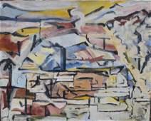 Andrew Dasburg; 20thC. Modernist Oil - Pueblo Village