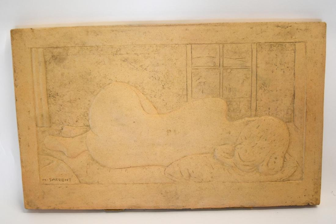 H. Sargent; 20thC. Terracotta Plaque Signed - 3