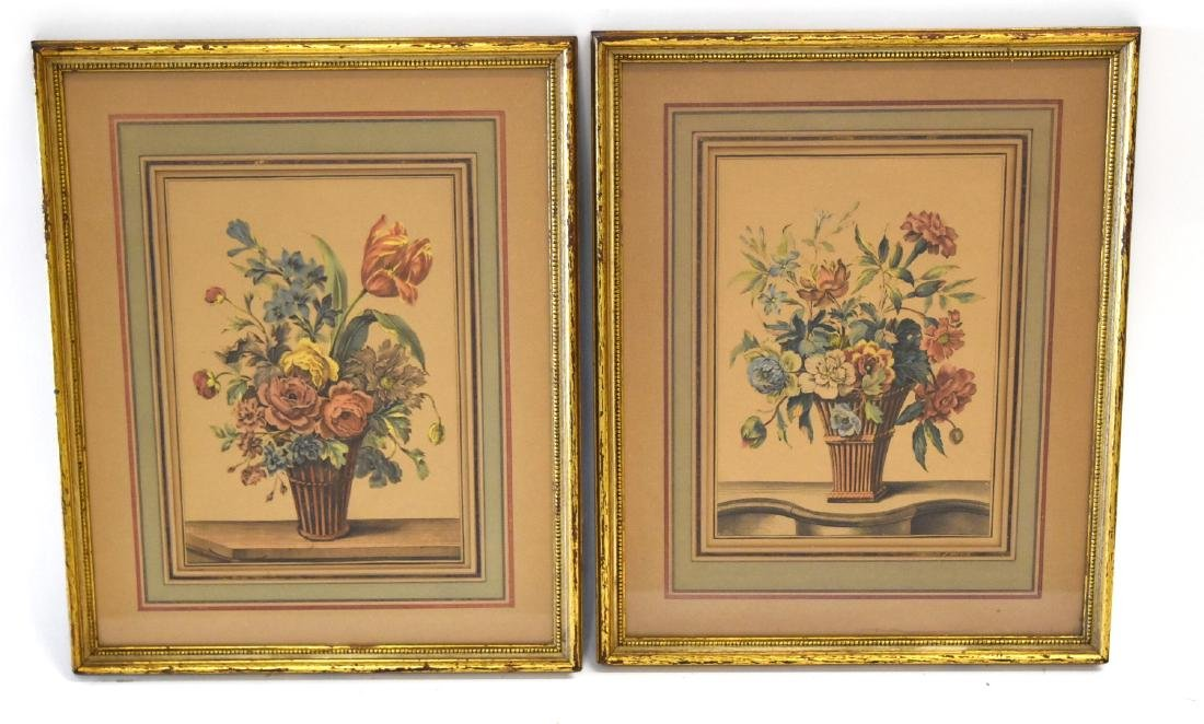 Pair of Early Hand Colored Botanical Prints