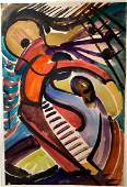 Bertram Hartman American Watercolor  Jazz Musicians