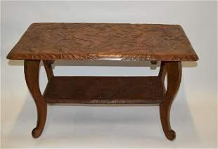 Japanese Carved Teakwood Table