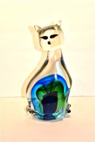 Seguso Murano Art Glass Siamese Cat