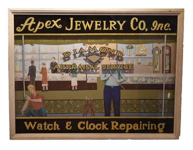 Vintage Apex Jewelry Co. Hand Painted Advertising Sign