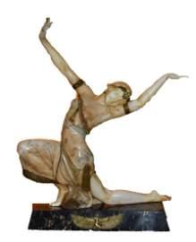 Fortunato Gori; French Art Deco Marble Dancer