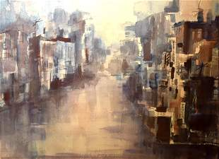Lucy Taylor 20thC American Watercolor Cityscape