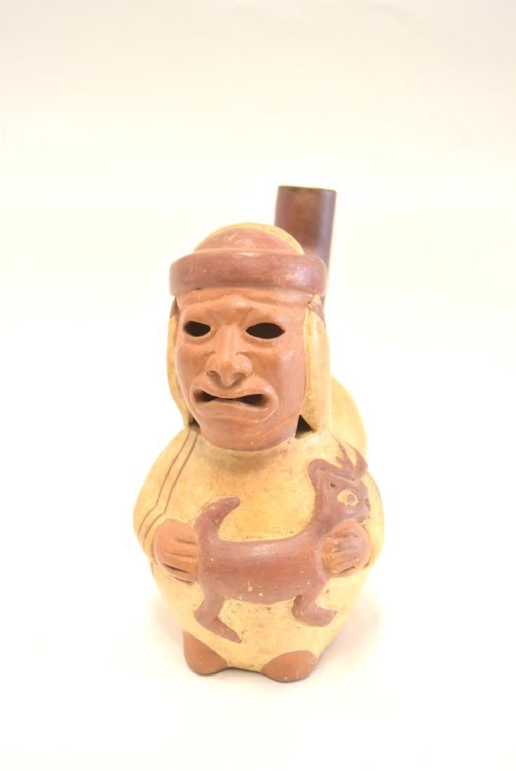 Mayan Glazed Figural Pottery Vessel - 2