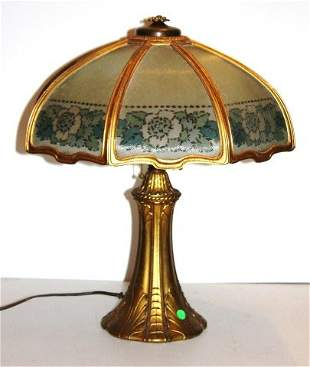 Eight(8) panel Bronzed and Glass Lamp