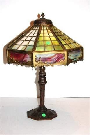 Miller Slag Glass Overlay Lamp
