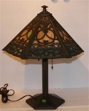 Bradley and Hubbard Glass Overlay Lamp
