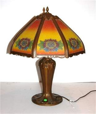 Art Deco Reverse Painted Glass Lamp