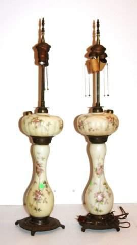 Pair of Mount Washington Glass Lamps